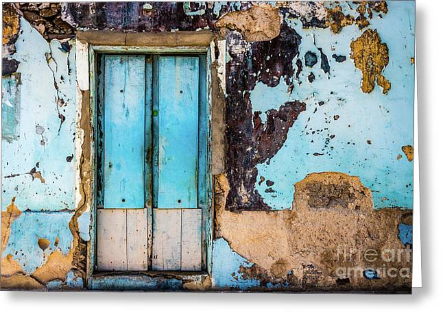 Blue Wall And Door Greeting Card