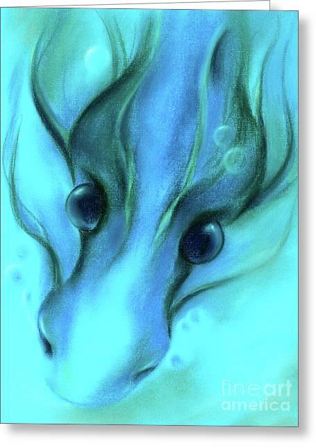 Blue Water Dragon Greeting Card