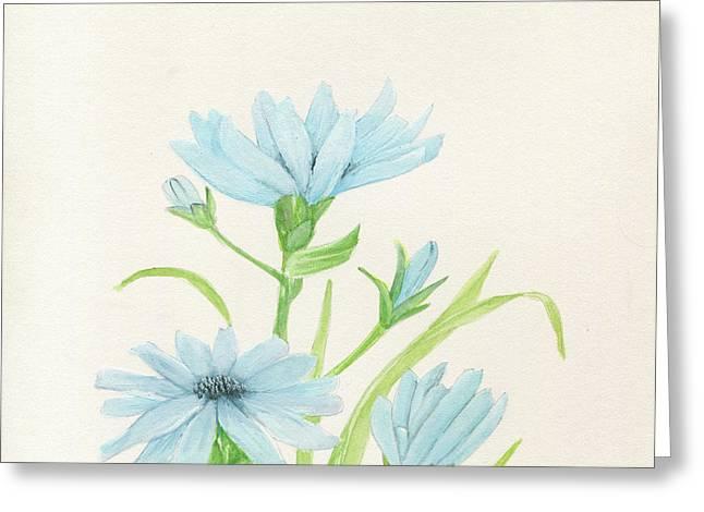 Blue Wildflowers Watercolor Greeting Card
