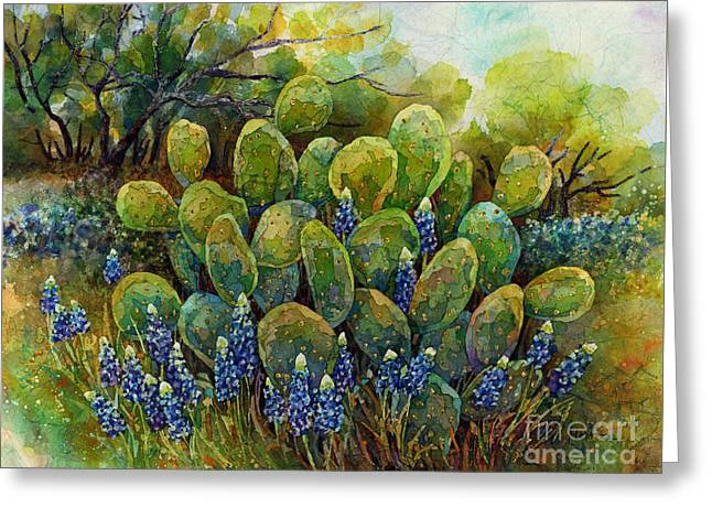 Bluebonnets And Cactus 2 Greeting Card