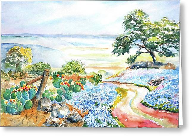 Greeting Card featuring the painting Bluebonnets - Texas Hill Country In Spring by Carlin Blahnik CarlinArtWatercolor