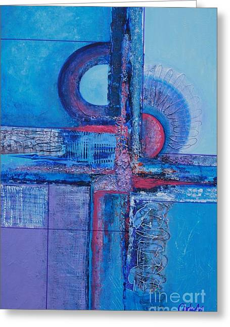 Blues With Purple Abstract Greeting Card