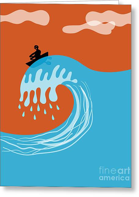 Boat On A Tsunami Wave Greeting Card