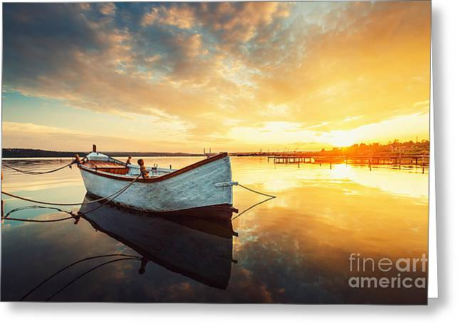 Boat On Lake With A Reflection In The Greeting Card