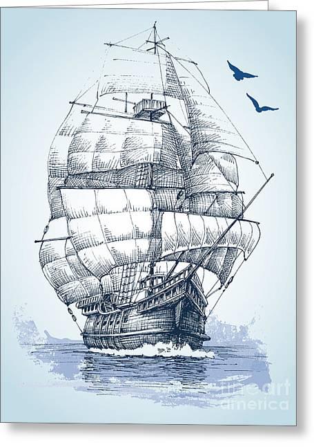 Boat On Sea Drawing. Sailboat Vector Greeting Card