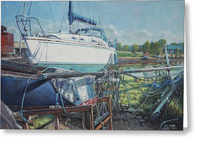 Boat Out Of Water With Dumped Parts At Marina Greeting Card by Martin Davey