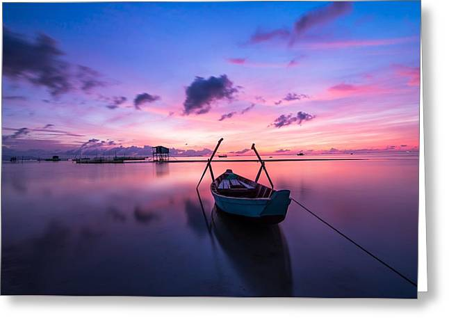 Boat Under The Sunset Greeting Card