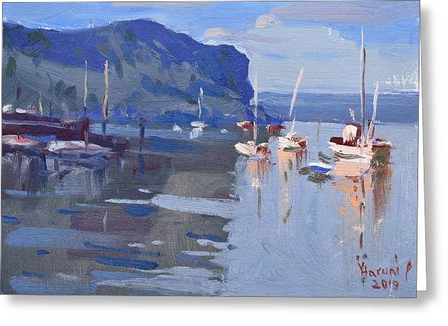 Boats At Hudson River In Rockland County Greeting Card