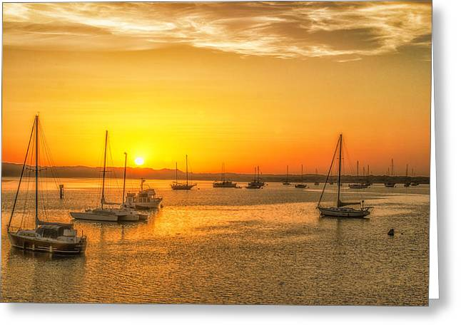 Boats At Sunset Greeting Card by Fernando Margolles