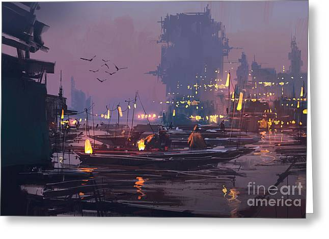 Boats In Harbor Of Futuristic Greeting Card