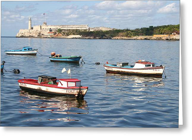 Greeting Card featuring the photograph Boats In The Harbor Havana Cuba 112605 by Rick Veldman