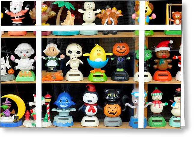 Bobbleheads In Store Window In Schroon Lake Ny In Adirondacks Greeting Card