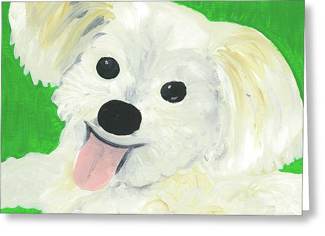 Greeting Card featuring the painting Bobby by Suzy Mandel-Canter