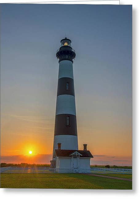 Greeting Card featuring the photograph Bodie Island, Sunrise, Obx by Cindy Lark Hartman