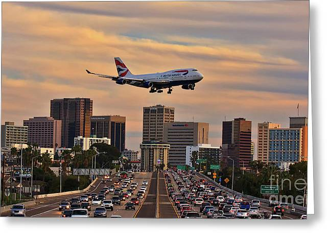 Boeing 747 Landing In San Diego Greeting Card