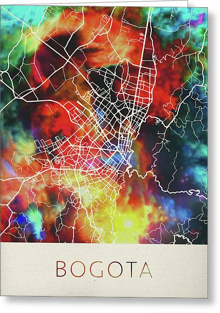 Bogota Colombia Watercolor City Street Map Greeting Card