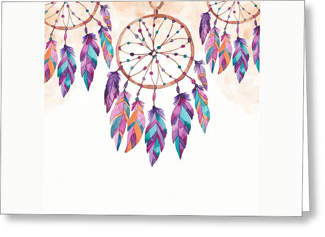 Boho Dreamcatcher - Boho Chic Ethnic Nursery Art Poster Print Greeting Card