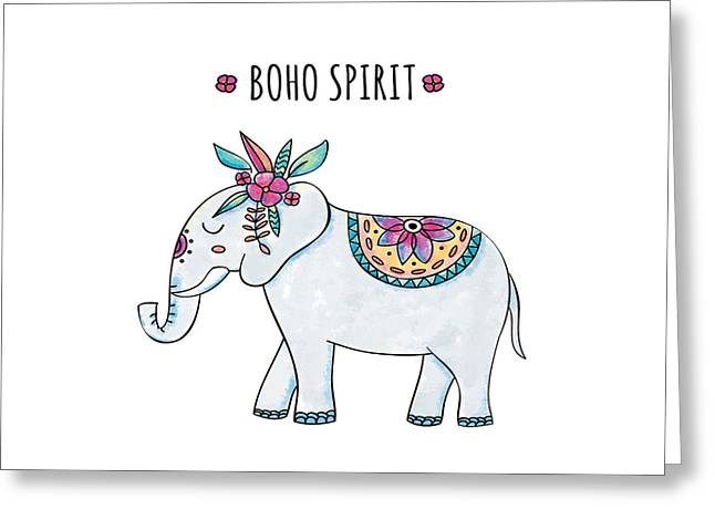 Boho Spirit Elephant - Boho Chic Ethnic Nursery Art Poster Print Greeting Card