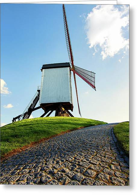 Bonne Chiere Windmill Bruges Belgium Greeting Card