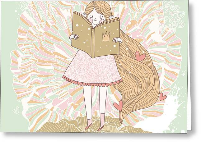 Book Reading Princess In Pastel Colors Greeting Card