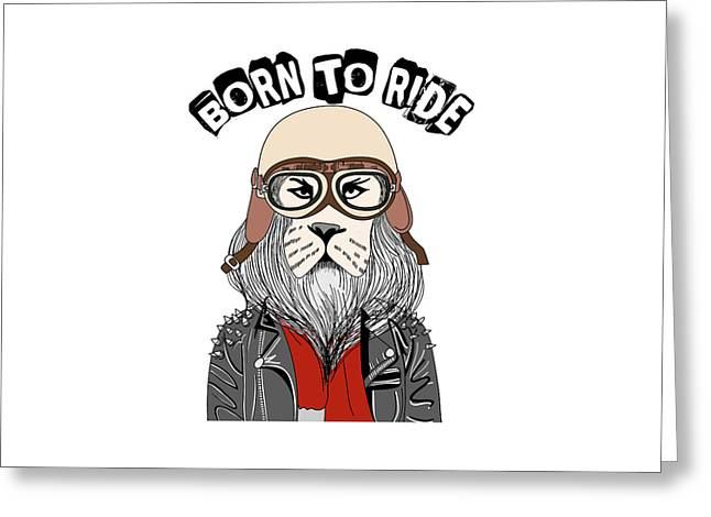 Born To Ride - Baby Room Nursery Art Poster Print Greeting Card
