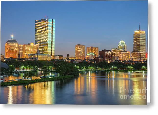 Boston Night Skyline II Greeting Card