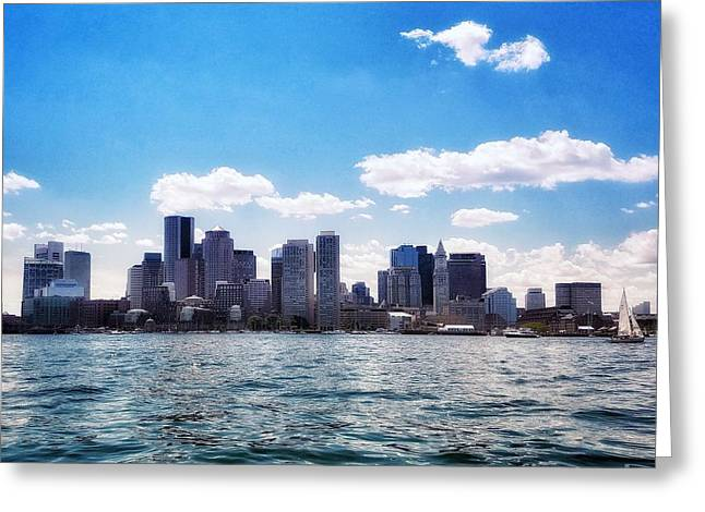 Boston Skyline From Boston Harbor  Greeting Card