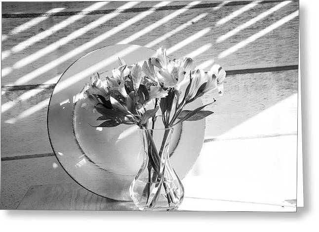 Bouquet And Plate-bw Greeting Card
