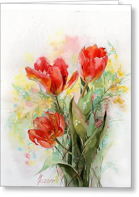 Bouquet Of Red Tulips Greeting Card