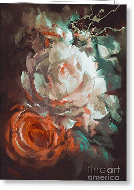 Bouquet Of Roses With Oil Painting Greeting Card