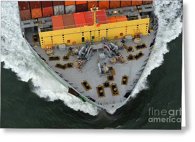 Bow Of Cargo Ship From Above Greeting Card