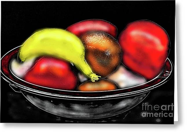 Greeting Card featuring the digital art Bowl Of Fruit by James Fannin
