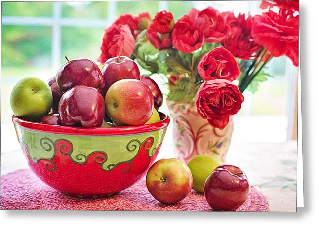 Bowl Of Red Apples Greeting Card