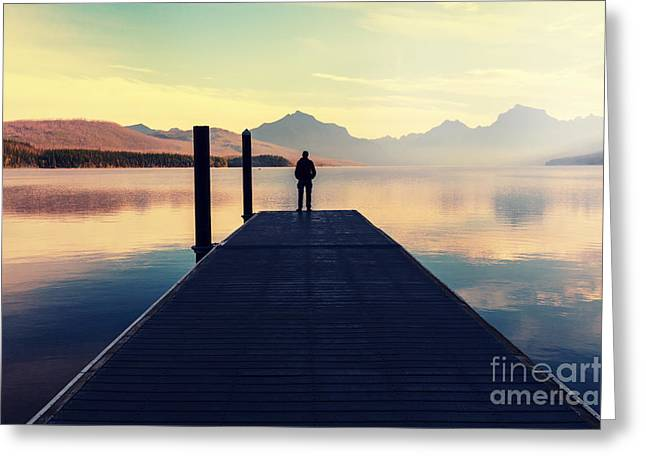 Bowman Lake In Glacier National Park Greeting Card