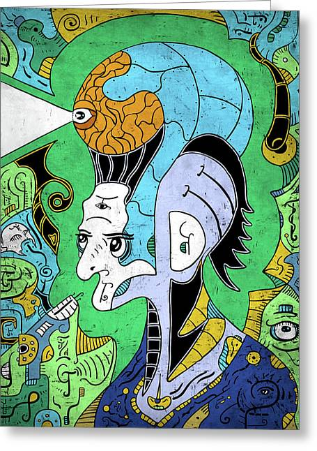 Greeting Card featuring the digital art Brain-man by Sotuland Art