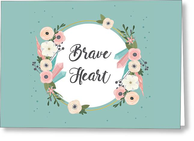 Brave Heart - Boho Chic Ethnic Nursery Art Poster Print Greeting Card