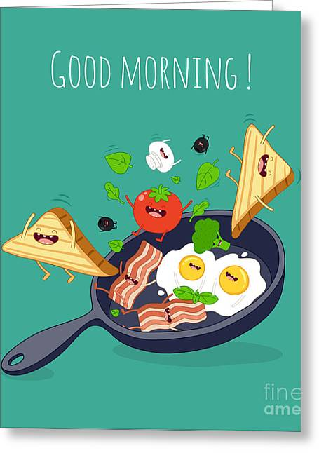 Breakfast Poster. Fried Eggs With Bacon Greeting Card