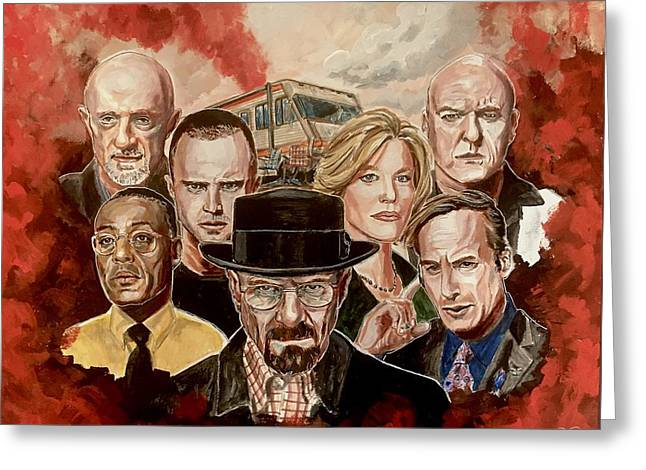 Greeting Card featuring the painting Breaking Bad Family Portrait by Joel Tesch
