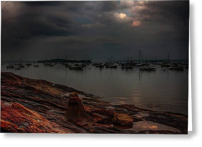 Breaking Light On Falmouth Harbor Greeting Card