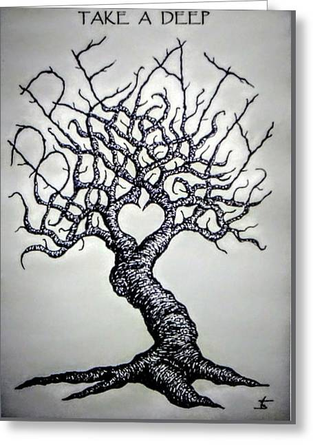 Greeting Card featuring the drawing Breathe Love Tree - Blk/wht by Aaron Bombalicki