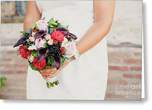 Bridal Bouquet Held By Her With Her Hands At Her Wedding Greeting Card