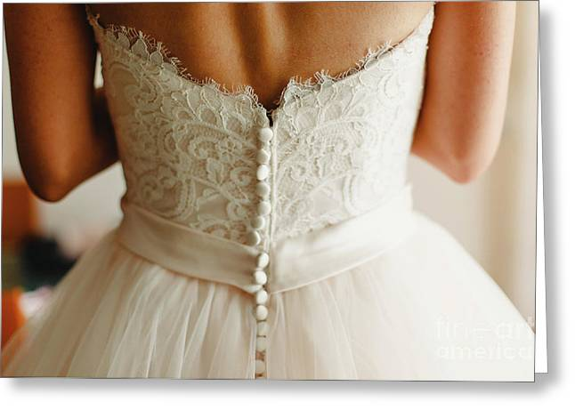 Bride Getting Ready, They Help Her By Buttoning The Buttons On The Back Of Her Dress. Greeting Card