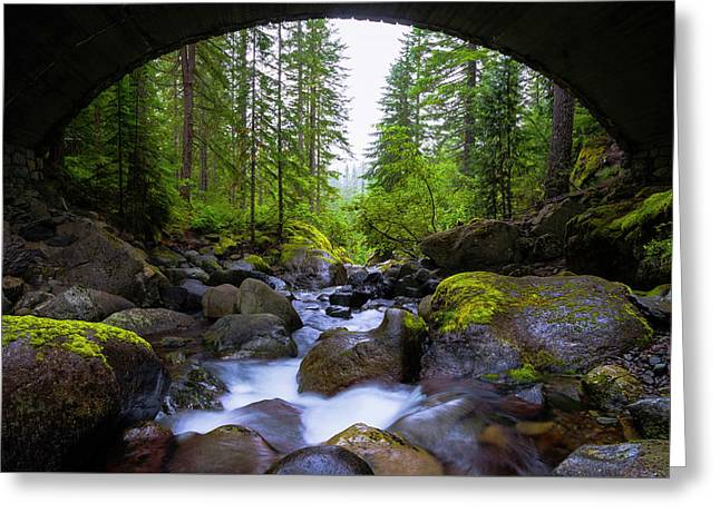 Bridge Below Rainier Greeting Card