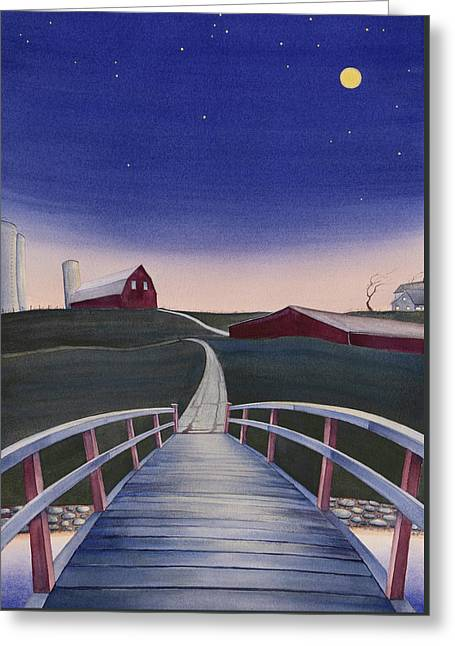Greeting Card featuring the painting Bridge Over Buck Creek II by Scott Kirby