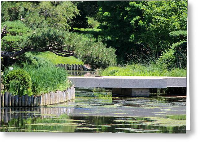 Bridge Over Pond In Japanese Garden Greeting Card