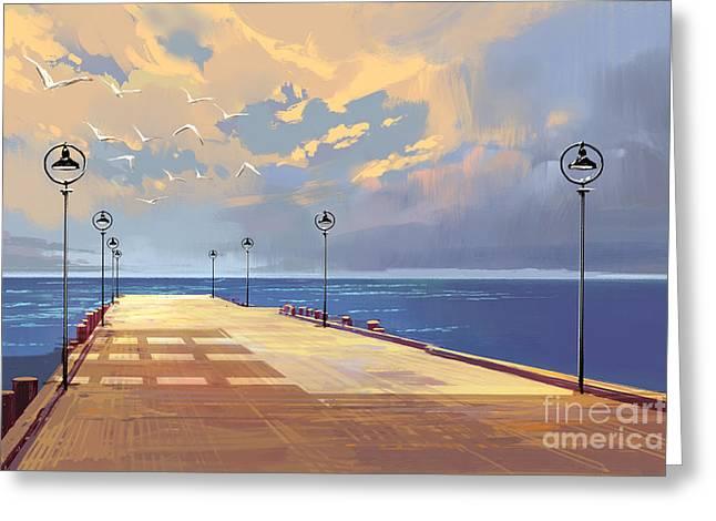 Bridge To The Sea Against Beautiful Greeting Card