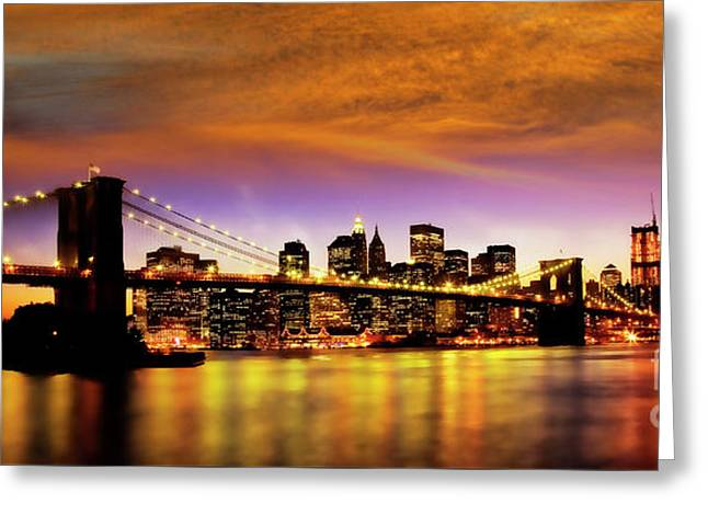 Greeting Card featuring the photograph Bridging The East River by Scott Kemper