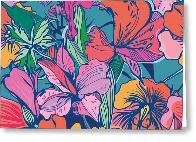 Bright Abstract Wallpaper Seamless Greeting Card