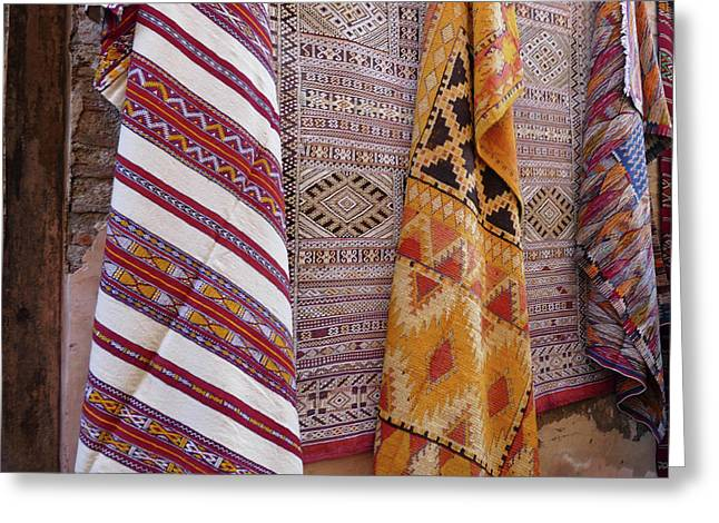Bright Colored Patterns On Throw Rugs In The Medina Bazaar  Greeting Card
