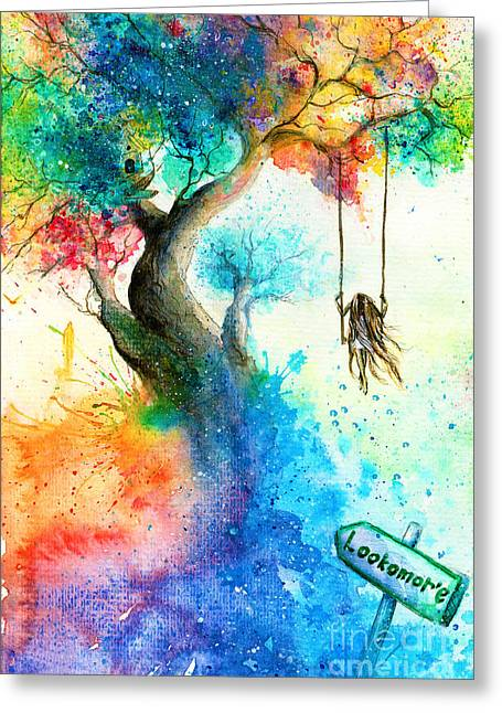 Bright Colorful Fantasy Painting Of A Greeting Card